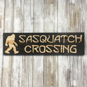 Sasquatch Crossing Lawn Ornament Sign -  Cedar Wood Decor