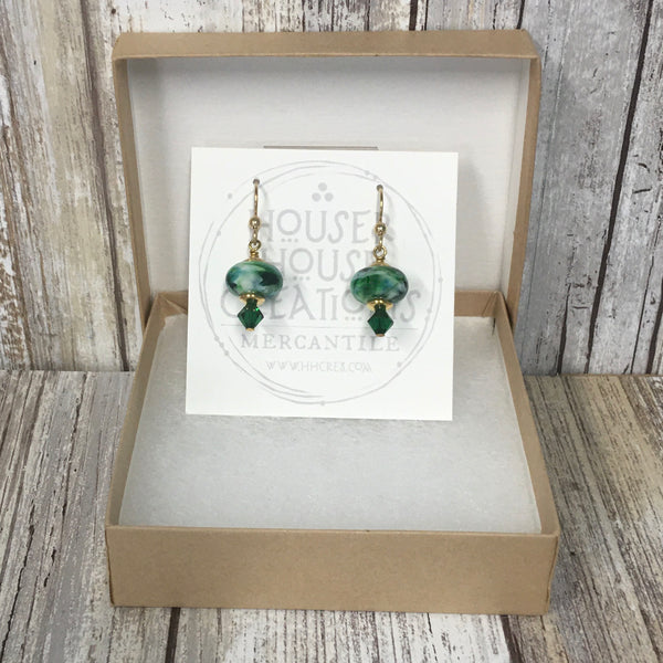 Shamrock Green Lampwork Glass & Gold Earrings