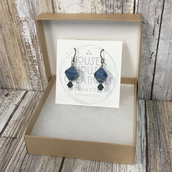 Denim Blue Lampwork Glass & Swarovski Earrings