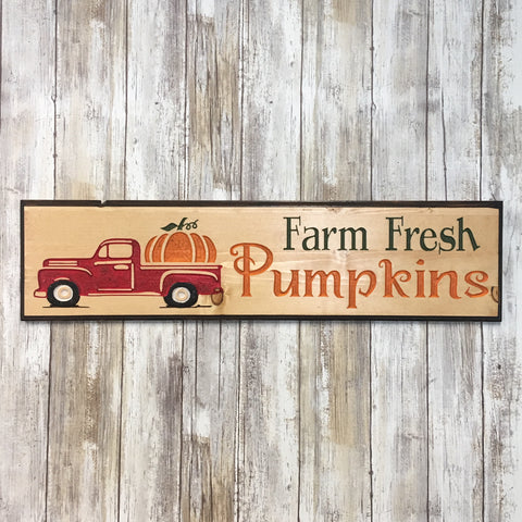 Farm Fresh Pumpkins - Autumn Halloween Sign - Carved Pine Wood