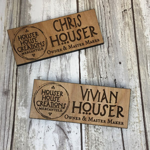 Custom Employee Name Tag Badge - Cut to your specifications - Birch Plywood