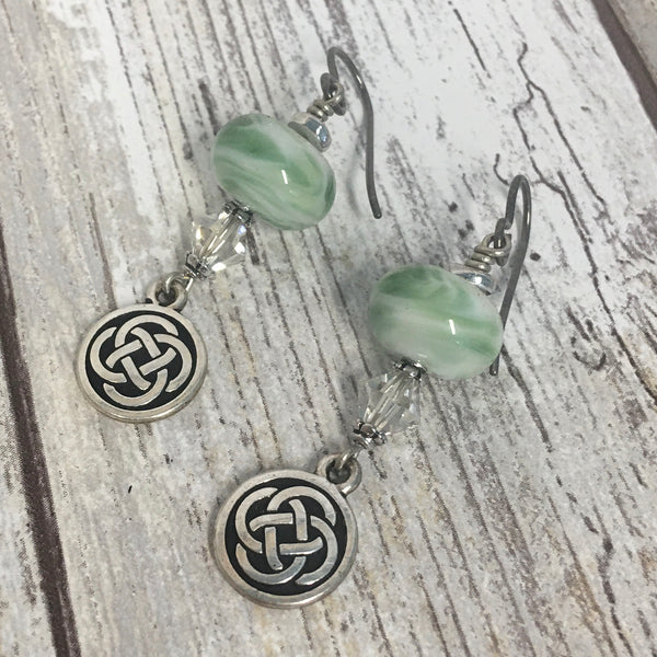 Celtic Knot & Green Lampwork Glass with Swarovski Crystal Earrings