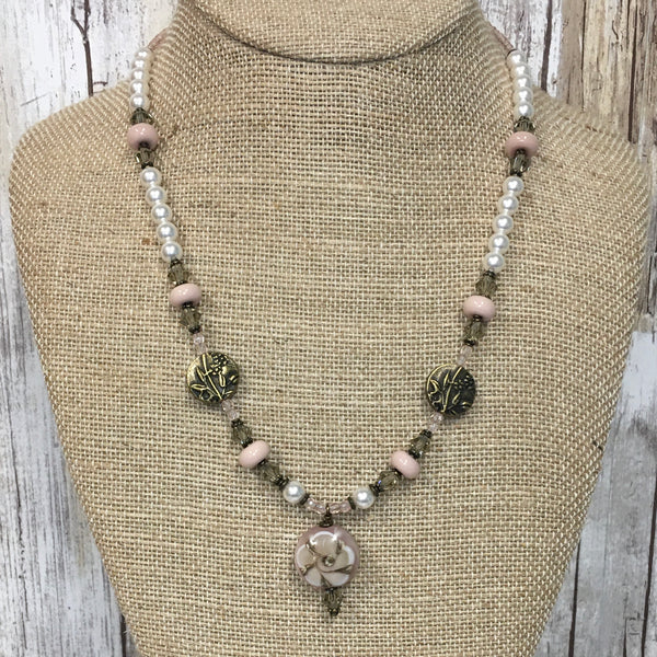Vintage Posey Lampwork Pearl & Brass Necklace