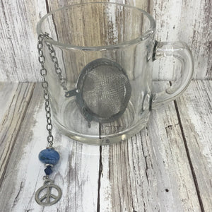Denim Blue Peace - Lampwork Bead & Charm Loose Tea Infuser Steeper Ball