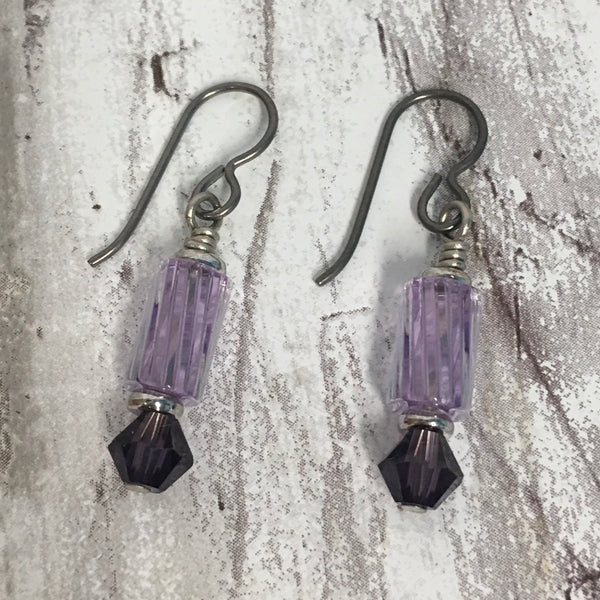 Lavender Furnace Glass with Swarovski Crystal Earrings