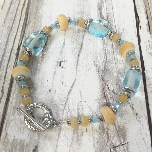Seaglass Nuggets - Lampwork Glass Bead Bracelet