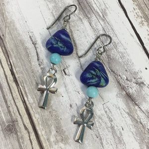 Egyptian Ankh Lampwork Glass Earrings