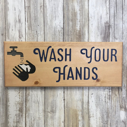 Wash Your Hands Sign - Carved Pine Wood