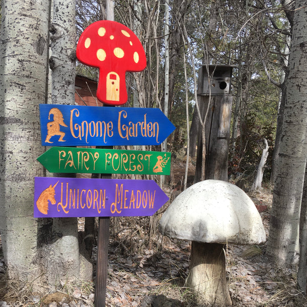 Fantasy Creatures Directional Signs - Carved Cedar Wood Signs