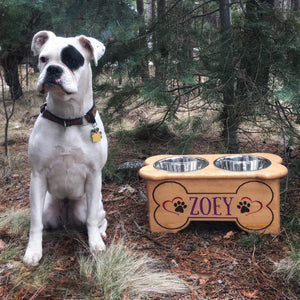 Custom Dog Food Bowl Holder - Carved Cedar Wood