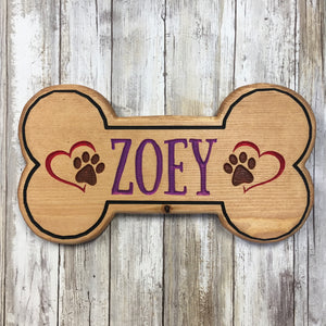 Custom Dog Bone Name Sign - Carved Pine Wood