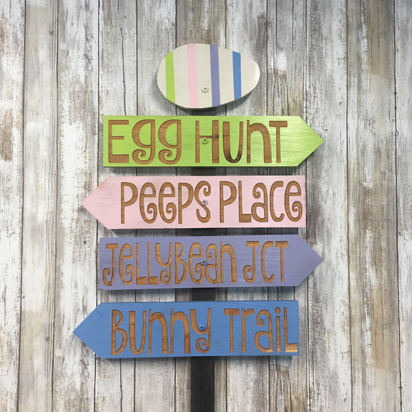 Easter Lawn Ornament Directional Sign Decoration - Carved Cedar Wood