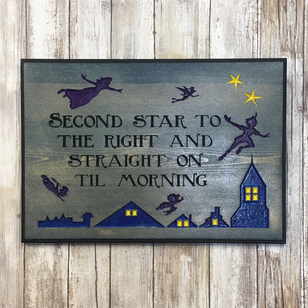 Peter Pan Neverland Sign -  Carved Pine Wood