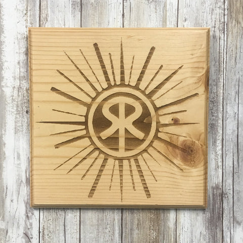 Sunriver Logo Sign - Laser Engraved Pine Wood