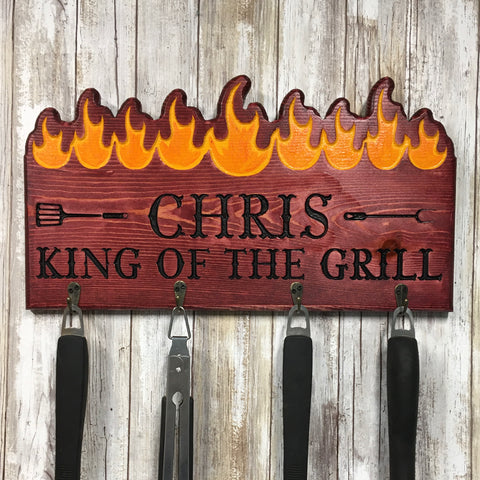 Personalized King of the Grill BBQ Tool Holder - Engraved Pine Wood