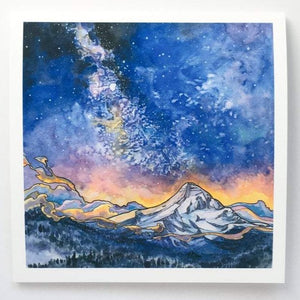 Mt Hood Alpenglow - Blank Greeting Card - Created by Christina McKeown