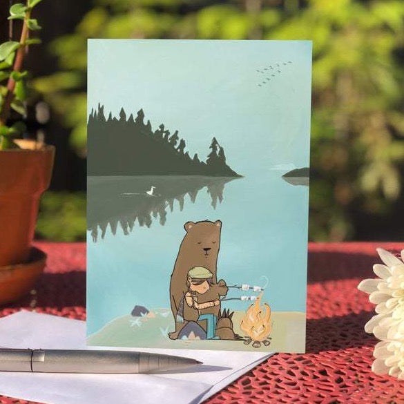 Bear & Bonfire - Blank Greeting Card - Created by Megan Marie Myers #16