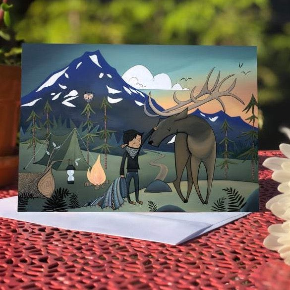 Elk Camping - Blank Greeting Card - Created by Megan Marie Myers #31