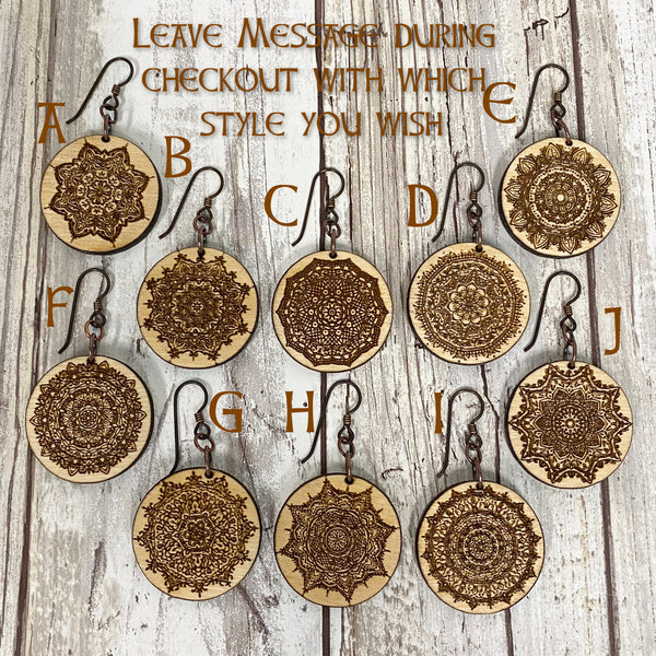 Ornate Mandala Earrings - Laser Engraved Baltic Birch Wood
