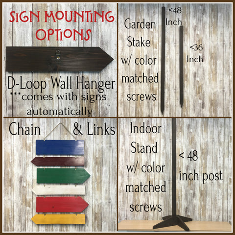 Sign Mounting Options - Choose Garden Stake, Chain and Links or Indoor Stand