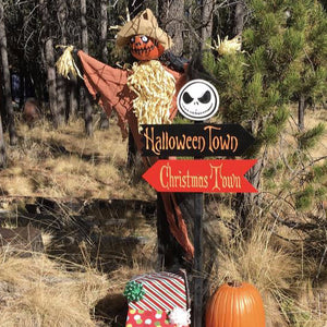 a Nightmare Before Christmas Lawn Ornament Directional Signs - Carved Cedar Wood Holiday Decor