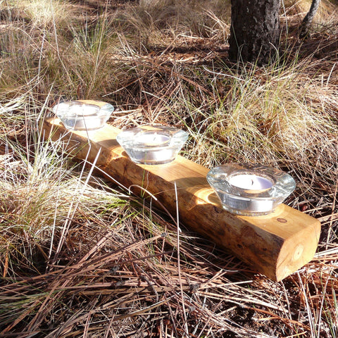 Fallen Rustic Log Glass Tea Light Candle Holder