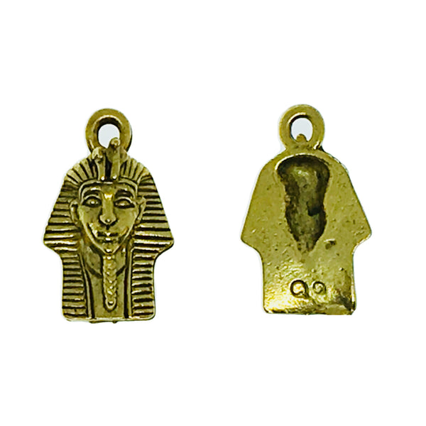 Pharaoh Head Charms - Qty of 5 Charms - 22kt Gold Plated Lead Free Pewter - American Made