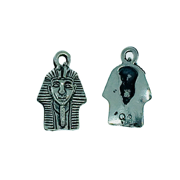 Pharaoh Head Charms - Qty of 5 Charms - Lead Free Pewter Silver - American Made