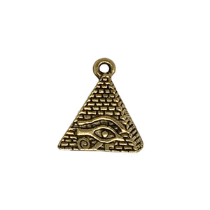Eye of Horus Pyramid Charms - Qty of 5 Charms - 22kt Gold Plated Lead Free Pewter - American Made
