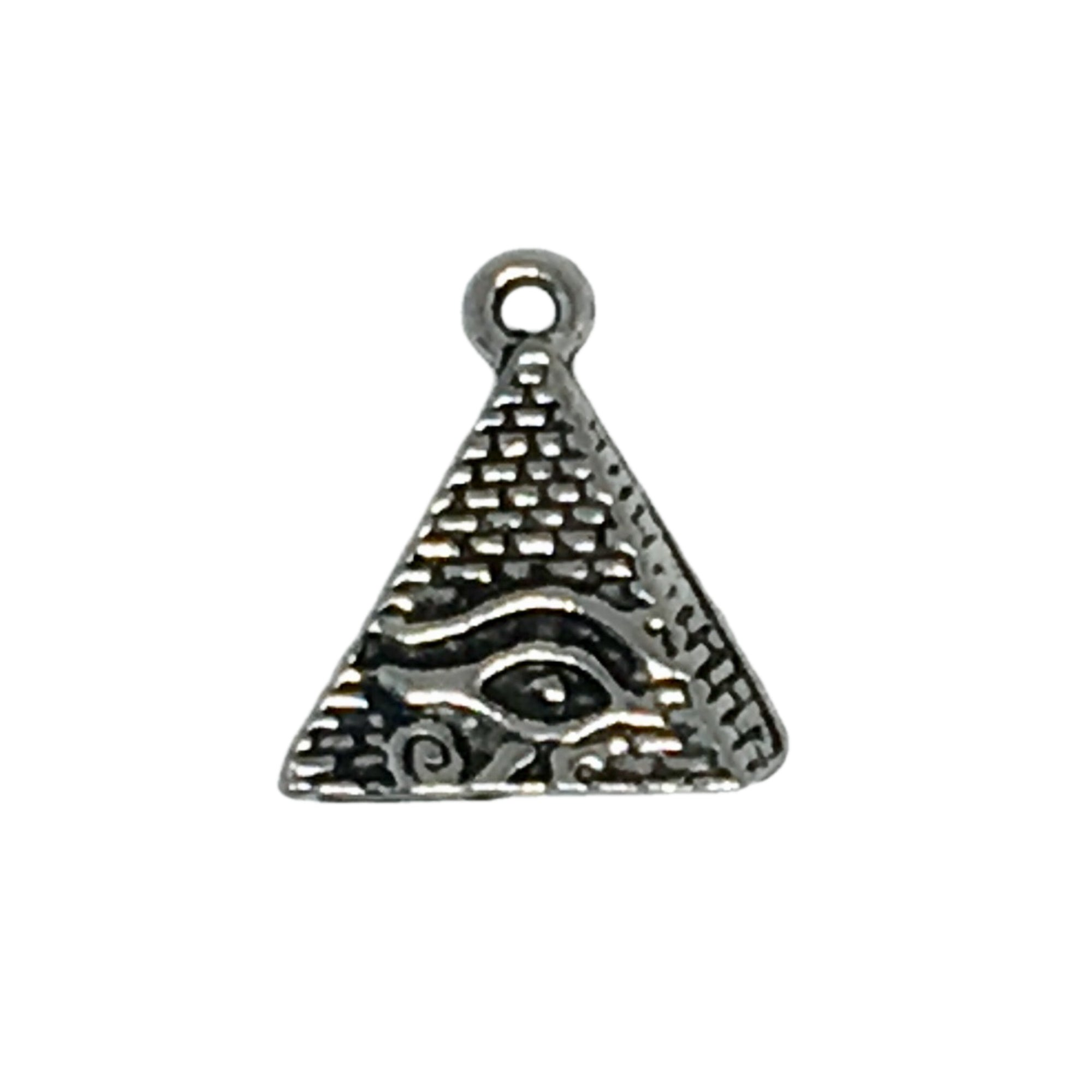 Eye of Horus Pyramid Charms - Qty of 5 Charms - Lead Free Pewter Silver - American Made