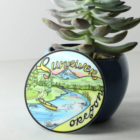 Sunriver Oregon Vinyl Sticker - Created by Michele Michael