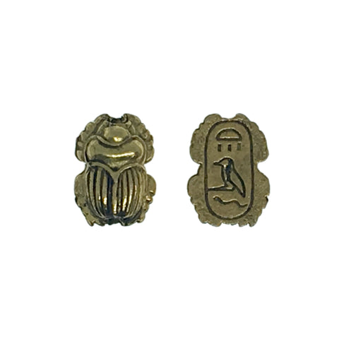 Egyptian Scarab Beads - Qty 5 - 22kt Gold Plated Lead Free Pewter - American Made