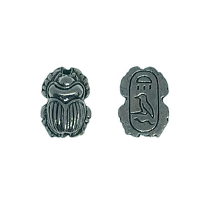 Egyptian Scarab Beads - Qty 5 - Lead Free Pewter Silver - American Made