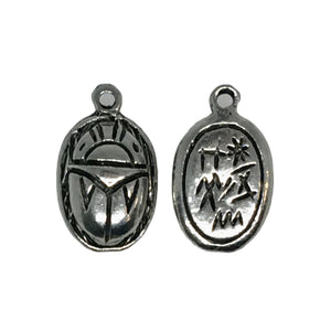 Egyptian Scarab Charms - Qty 5 - Lead Free Pewter Silver - American Made