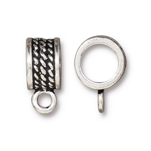 Rope 8mm Round Bail - Qty 4 Bails - TierraCast Silver Plated Lead Free Pewter