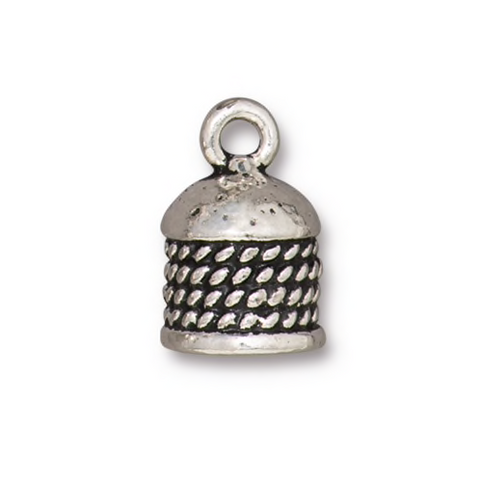 Rope Cord End 8mm - Qty 4 - TierraCast Silver Plated Lead Free Pewter