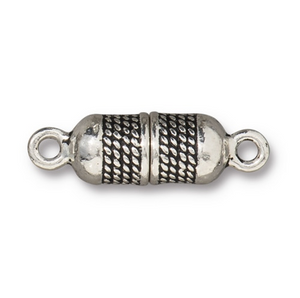 Rope Magnetic Clasp - Qty 1 - TierraCast Antiqued Silver Plated Lead Free Pewter