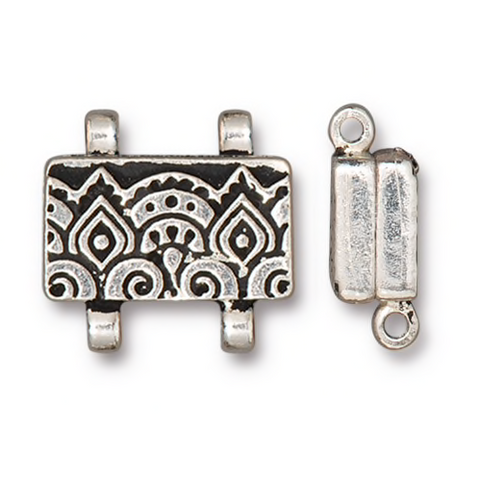 Temple Stitch In Magnetic Clasp - Qty 1 - TierraCast Antiqued Silver Plated Lead Free Pewter