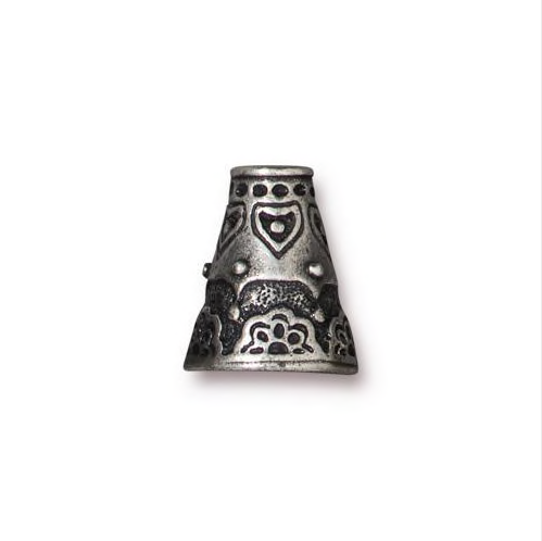 Flowering Cone Bead Cap - Qty 4 - TierraCast Antiqued Plated Lead Free Pewter
