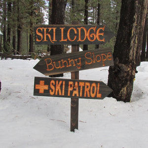 Ski Lodge Patrol Bunny Slope Directional Lawn Ornament Sign - Carved Cedar Wood