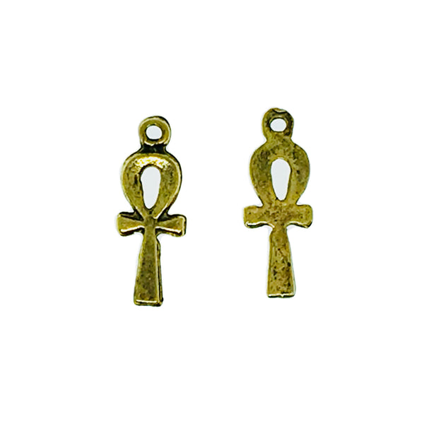 Small Ankh Charms - Qty of 5 Charms - 22kt Gold Plated Lead Free Pewter - American Made