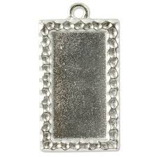 Large Simple Rectangle Frame Charm - Qty 2 - TierraCast Rhodium Silver Plated LEAD FREE Pewter D/C