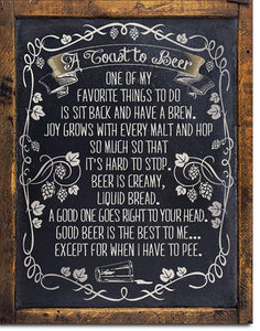 A Toast to Beer - Beer Sign - Made in the USA