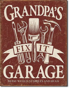 Grandpa's Fix It Garage - Man Cave Sign - Made in the USA