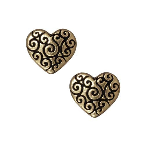 Heart Scroll Bead - Qty 5 Beads - TierraCast Brass Ox Plated Lead Free Pewter *DC