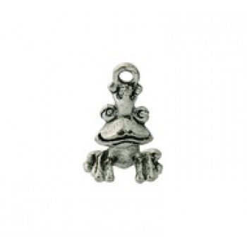 Frog Prince Charms - Qty of 5 Charms - Lead Free Pewter Silver - American Made
