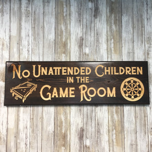 Game Room Rules Sign - Carved Engraved Pine Wood