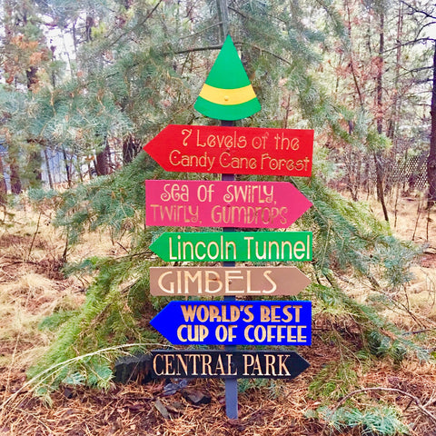 Elf Movie Christmas Directional Sign Christmas Yard Decoration - Engraved Cedar Wood
