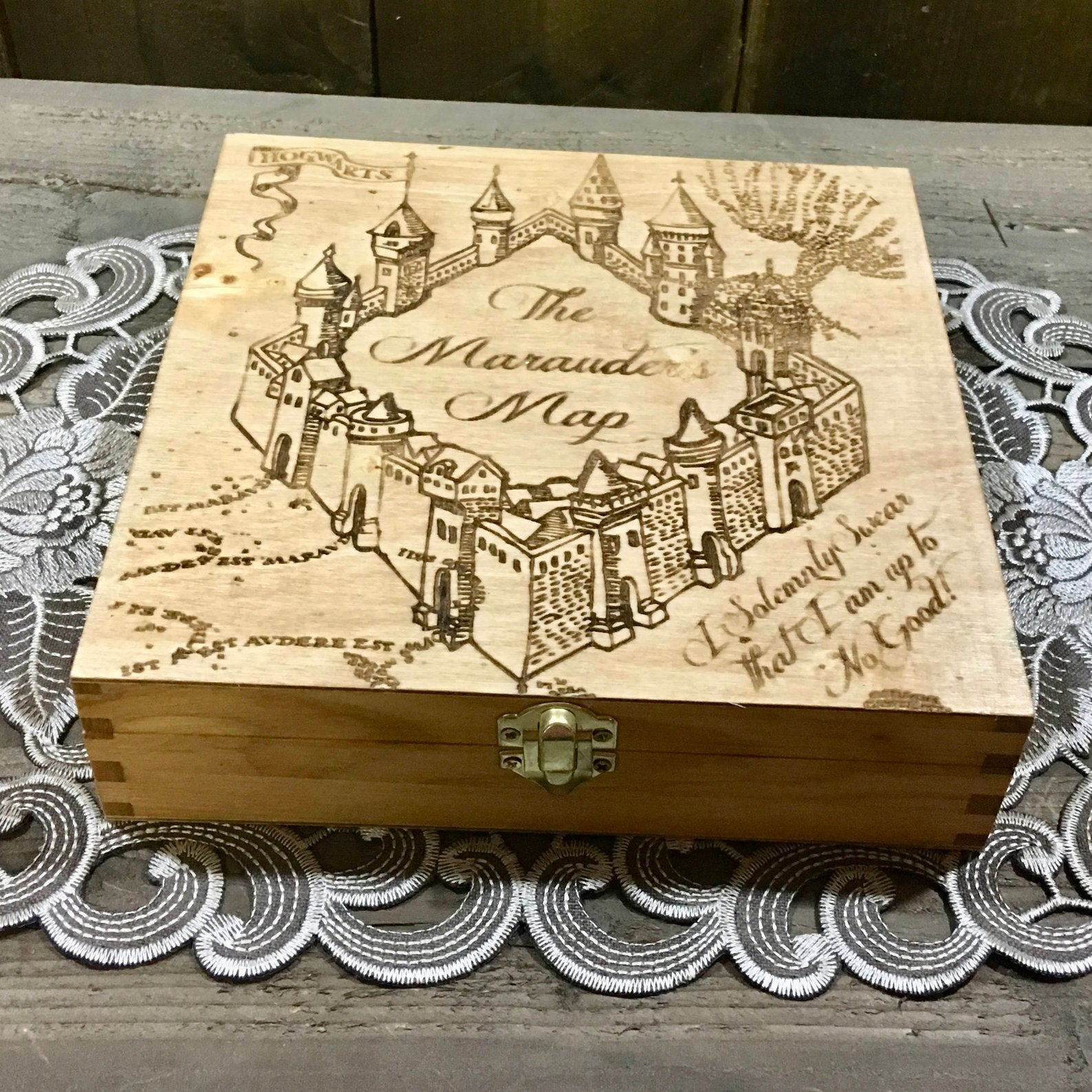 Map Box - Stash Jewelry Treasure Wooden Box - Laser Engraved
