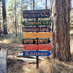 Wizard of Oz Fantasy Story Signs -  Carved Cedar Directional signs